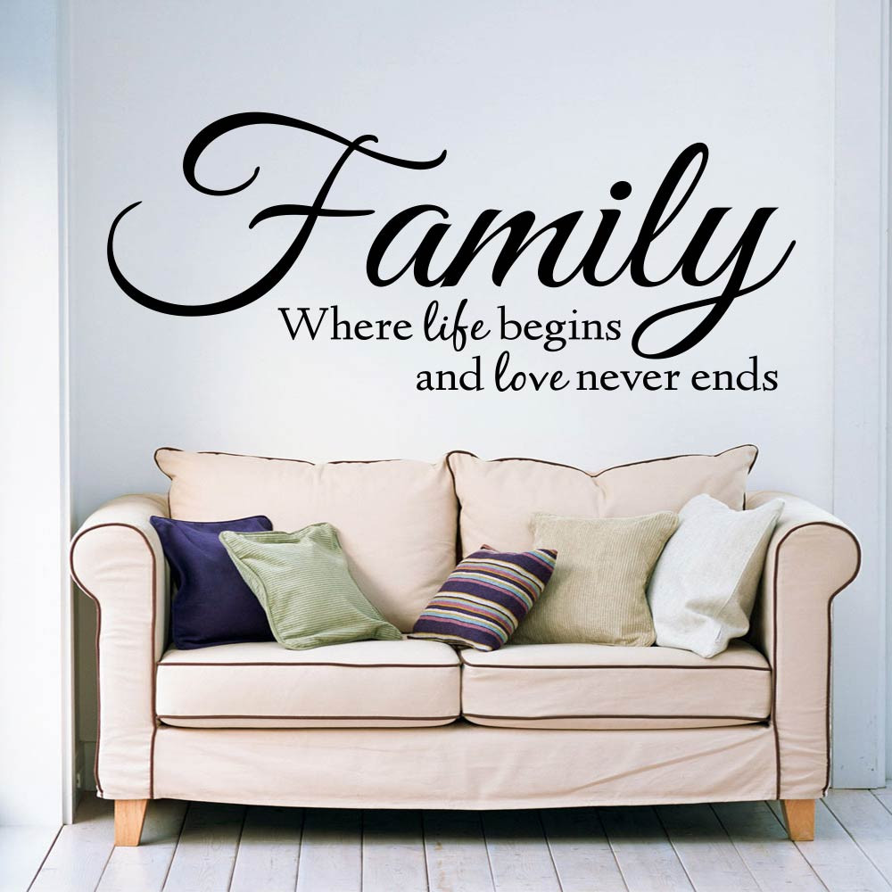 Family where life begins and love never ends wallsticker