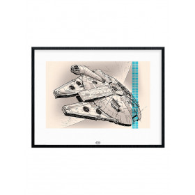 Star Wars Episode VII (Millennium Falcon Pencil Art) Poster wallsticker