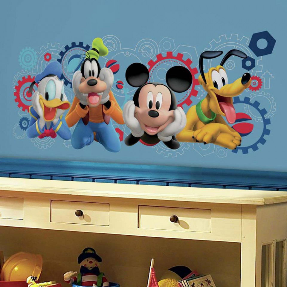 Mickey mouse clubhuis muursticker alleen van 34 for Stickers mickey chambre