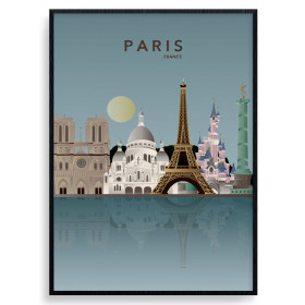 Paris Skyline Poster wallsticker