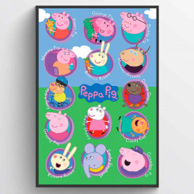 Peppa Pig Multi Characters Poster wallsticker