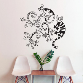 Artistieke kattencollage wallsticker