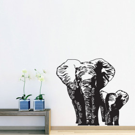 Olifantmama & kind wallsticker