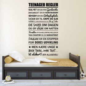 Tienerregels wallsticker